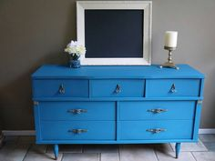Vintage dresser refinished in our homemade chalk style paint.