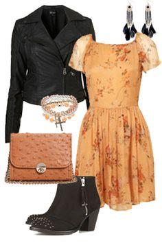 Get the look:  Floral print dress – Topshop - £50  Biker jacket – Miss Selfridge - £52  Stud ankle boots – Topshop - £80  Bracelet stack – New Look - £4.99  Tan bag – Boohoo - £10  Black earrings – New Look - £3.99    £200.98