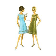 1960s Scalloped Dress Pattern, McCalls 7995, A Line Princess Seam Dress, Bust 33, Uncut