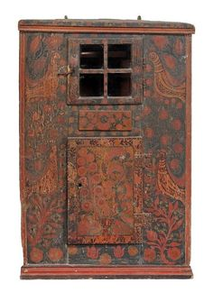 A Scandinavian painted corner cupboard , mid 19th century  A Scandinavian painted corner cupboard  , mid 19th century, with moulded edge above glazed four panel door enclosing cupboard, drawer, and another cupboard, all over decorated with birds and flowering branches 113cm high   together with a similar green painted flight of four shelves,   late 19th century, 82cm high, 81cm wide,  21cm deep