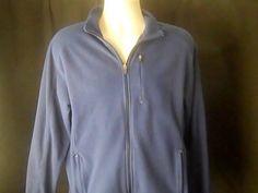 LL BEAN Mens M REG Blue Fleece Sweat Shirt Jacket #LLBEAN #Sweatshirt