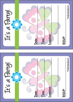 Free printable butterfly party invites