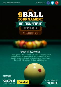 Billiards tournament A5 promotional flyer. http://premadevideos.com/a5-flyer-template-gallery/