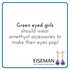Eiseman Jewels Sparkling Suggestion! | Eiseman Bridal | Earrings | Amethyst | Diamonds | Jewelry | Tips