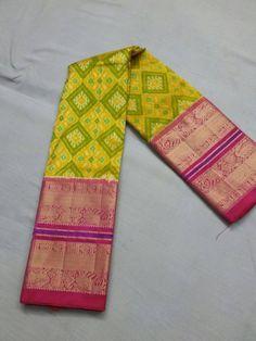 Ikat silk saree with Kanchi border.