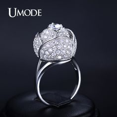 UMODE Brand Flower Rings White Gold Color Top CZ Cocktail Rings For Women Jewelry Fashion Mother's Day Gift Bague Femm AUR0081