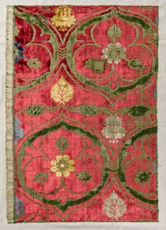 Polychrome Velvet, early 1400s  Italy, early 15th century  velvet weave (cut and voided): silk thread, Overall - h:44.50 w:30.50 cm (h:17 1/2 w:12 inches). Gift of The Textile Arts Club 1940.370