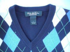 Brooks Brothers Sweater V Neck Large Argyle Check Blue Long Sleeve 100% Cotton #BrooksBrothers #VNeck