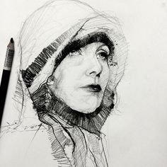 Greta Garbo with charcoal pencil...been a long time since i use this medium 😌😅