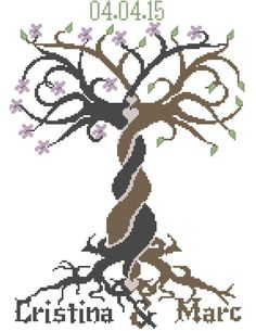 Modern Cross Stitch entwined tree with names date hearts flowers leaves