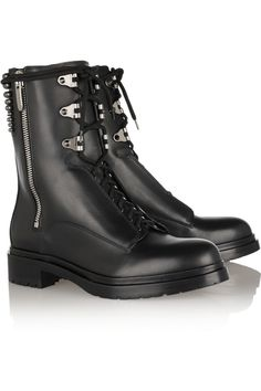 Heel measures approximately 1 inch and inch sole Black leather Lace-up front, zip fastening along sideLarge to size. Boots For Short Women, Short Boots, Low Heel Boots, Ankle Boots, Biker Boots, Combat Boots, Boots 2014, Black Heels Low, Leather Lace Up Boots