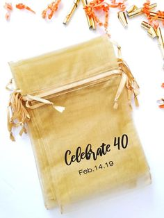 Printed Organza Bags- Celebration | Fabric Favour Bags | Drawstring Pouch | Mesh Candy Bags | Party Gift Bags