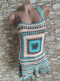 Granny square crochet women dress Summer festival multicoloured boho h… Summer Dresses For Women, Dress Summer, Hippie Crochet, Crochet Toddler, Crochet Woman, Vacation Outfits, Boho Dress, Hippie Boho, Beachwear