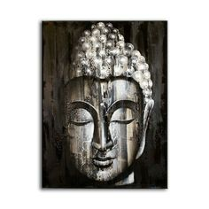 Buddha Wall Art Painting ~ Oil Painting on Canvas ~ Silver in Art, Artists (Self-Representing), Paintings Buddha Wall Art, Buddha Painting, Oil Painting On Canvas, Buddha Decor, Painting Trees, Buddha Face, Buddha Head, Art Thai, Doodle Art