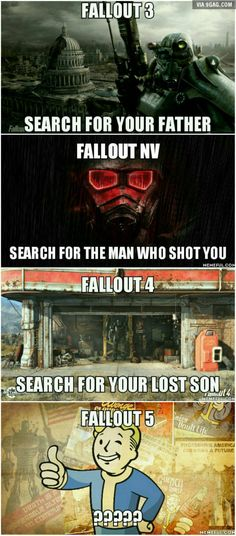 Was playing Fallout 3 when this question popped in my mind. But I know this for sure, Fallout 5 will also be about searching for someone.