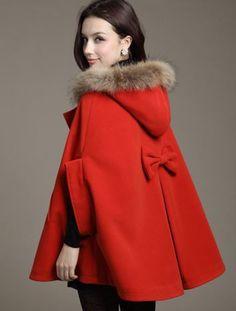 Capa Frete Grátis 2013 outono inverno Mulheres lã faux pele de raposa do sobretudo com capuz de lã poncho capes Manteau abrigos jaqueta casaco 42.89