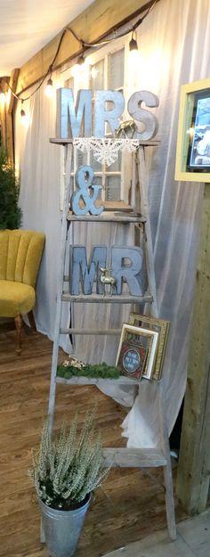 Mr & Mrs Letter on Antique Ladder Antique Ladder, Wedding Events, Weddings, Event Photos, Ladder Decor, Goal, Reception, Letter, Green