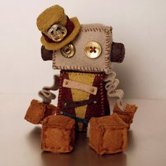 Steampunk Robot Plush Doll with Vintage Buttons and by GinnyPenny, $32.00