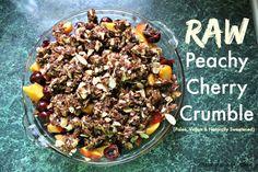 Raw Peachy Cherry Crumble (Paleo, Grain-free, Naturally Sweetened, Vegan) | http://friskylemon.com/2014/07/08/raw-peachy-cherry-crumble-paleo-grain-free-naturally-sweetened-vegan/