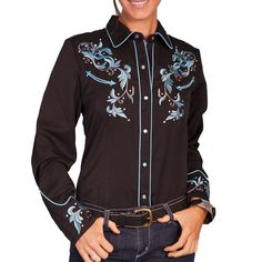 Scully Women's Embroidered Long Sleeve Western Shirt