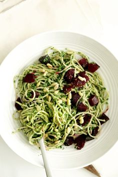 Kale Pesto Pasta with spaghetti squash or zucchini noodles & w/o the beets