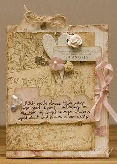 Shabby Distressed Card...with heart & flowers.