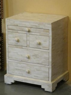 Bedside Chest With  Drawers - Bone Inlay - Indigo Asian Antiques & Interiors UK
