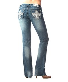 Take a look at this GRACE in LA Medium Wash Lace Cross Bootcut Jeans on zulily today!