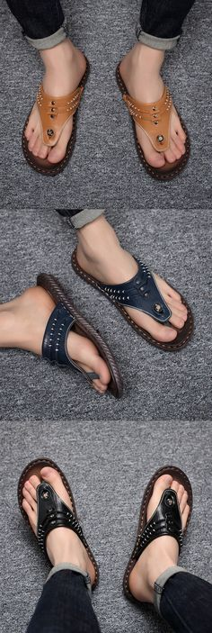 cf3e6c96e47325 US 23.89 Men Hand Stitching Soft Clip Toe Beach Slippers Waterproof Leather  Sandals Knit Shoes