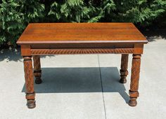Antique Turn of The Century Tiger Oak Library Table w Drawer Leaf Carved Legs | eBay