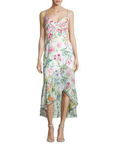 Sleeveless Floral Chiffon Midi Dress, White/Multicolor