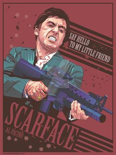 Scarface film) Alternative movie poster by AdamKhabibi on DeviantArt - Scarface is a 1983 American crime film directed by Brian De Palma and written by Oliver Stone, a re - Scarface Poster, Scarface Movie, Dope Cartoons, Dope Cartoon Art, Film Poster Design, Movie Poster Art, Dope Wallpapers, Animes Wallpapers, Rock Poster