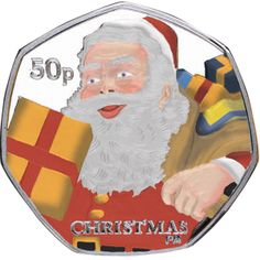 Isle of Man 2011 - Christmas Coin - Father Christmas - Coloured Proof Sterling Silver Fifty Pence Coins, 50p Coin, Coin Worth, To Collect, Challenge Coins, Manx, Isle Of Man, Rare Coins, Father Christmas