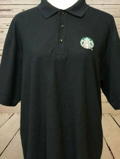 """Black in color. Left sleeve has embroidered """"Starbucks"""" on it. Starbucks, Baby Dress, Dress Up, Homemade Halloween Costumes, Costume Contest, Short Sleeve Polo Shirts, Black Shorts, Online Price, Polo Ralph Lauren"""