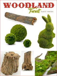 Love it! I could reuse party decor in nursery! Woodland Forest Party Theme Part 1 {Woodsy Elements & Toadstools}