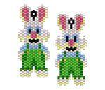 ThreadABead Rabbit in Dugarees Earring