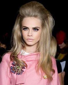 Belle de Jour #fashion #60s #hair #quiff #pink #catwalk #runway #models #bouffant #blonde #60sfashion