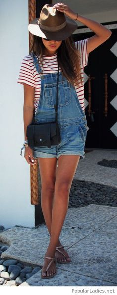 Denim jumpsuit, simple tee and a hat