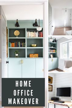 Check out this before and after! Contemporary Home Office Makeover. Click through for home office decor ideas to create a modern, stylish space! Featuring shiplap, built ins, and great accessories. Home Office Space, Home Office Design, Home Office Decor, Diy Home Decor, House Design, Home Office Organization, Organization Ideas, Organizing, Transitional Home Decor
