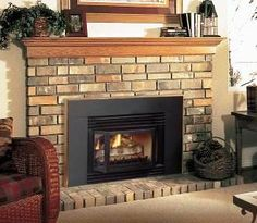 Convert your old wood burning fireplace into an efficient direct vent fireplace! , Convert your old wood burning fireplace into an efficient direct vent fireplace! Gas Fireplace Mantel, Direct Vent Fireplace, Fireplaces, Fireplace Ideas, Wood Burning Insert, Wood Burning Fireplace Inserts, Solid Wood Kitchen Cabinets, Solid Wood Kitchens, Wood Tile Bathroom Floor