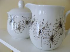 Hand Painted Dandelion Cream and Sugar Set by CANADIANCREATIONZ