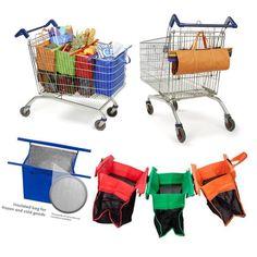 Trolley Eco Bags - Set Of 4Pcs Reusable Supermarket Grocery Shopping Bags Kk