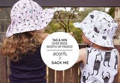 We are excited to announce the launch of our limited edition @sackme X @acornkids hats. To celebrate we are  giving away a fantastic prize valued at $500 to one lucky person. The prize includes a complete set of Sack Me!'s Flamingo Pink or Mint bedding to the value of $250 a Flamingo reversible bucket hat and a Green Mob bucket hat (valued at $36.95 each) and a voucher to spend at Acorn Kids to the value of $180. Competition is open WORLDWIDE.  All you need to do is:  1. Follow @acornkids…