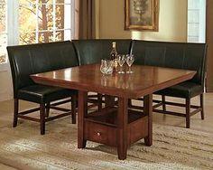 Salem 4 Piece Breakfast Nook Dining Room Set Table Corner Bench Seating Dinette
