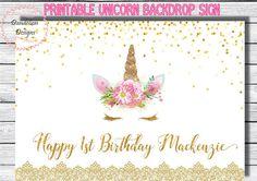 This item is unavailable Unicorn Banner, Unicorn Printables, Beautiful Unicorn, Birthday Backdrop, Unicorn Face, Unicorn Birthday Parties, Digital Image, Birthday Invitations, A Table