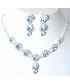 Shop, Jewelry Sets, Stunning Y Drop Evening Party Lite Blue Crystal Necklace Earring Bling Rhinestone - Silver Jewellery Uk, Fancy Jewellery, Jewelry Party, Bridal Jewelry, Costume Jewelry, Cheap Jewelry, Fine Jewelry, Jewelry Box, Bridesmaid Jewelry Sets