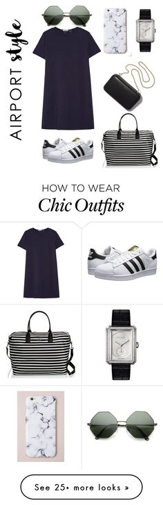 """Airport Chic"" by katturpen on Polyvore featuring Clu, adidas Originals, Kate Spade, Chanel, Clare V., GetTheLook and airportstyle"
