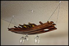Hanging Wine Glass Bottle Rack Made From Oak Barrel Stave 16 Hanging Wine Glass Rack, Wine Glass Holder, Wine Bottle Holders, Caves, Barrel Projects, Diy Projects, Wine Barrel Furniture, Wine Decor, Bottle Rack