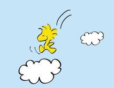 Happy little Woodstock having fun in the clouds. Snoopy Tattoo, Snoopy Comics, Peanuts Cartoon, Peanuts Snoopy, Peanuts Characters, Cartoon Characters, Charlie Brown Desenho, Caricatures, Hello Kitty Imagenes