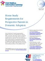 Home Study Requirements for Prospective Parents in Domestic Adoption (including from foster care)